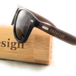 Other - Sunglasses Black w/Brown Bamboo Wayfarer